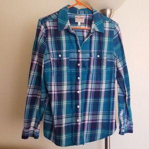 Teal & Navy Plaid Shirt